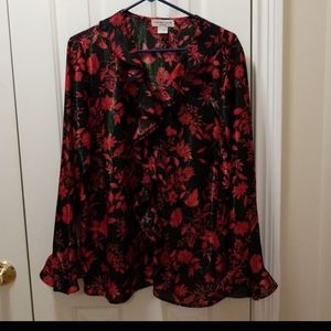 Notations Black and Red Ruffle Blouse Size 1X